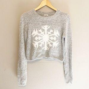 Garage Gray Snowflake Crop Sweater Medium